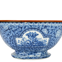 Blue and White Serving Bowl by Franz Mehlem Antique German Early 1900s