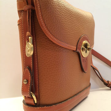 Dooney and Bourke Saddle Tan Leather Spectator Bag, Handbag, Purse