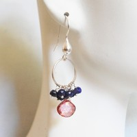 Pink Quartz and Sapphire Cluster Chandelier Earrings- Pink Hoop Dangle Drop Earrings- Birthstone Earrings