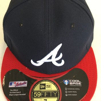 "ATLANTA BRAVES MLB NEW ERA 5950 NAVY WHITE ""A"" RED BRIM BLACK UNDER FITTED HAT"