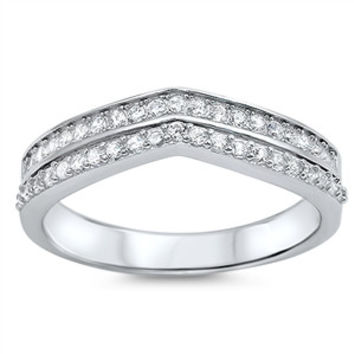 Sterling Silver CZ Simulated Diamond Twin Rows Tiara 5MM Ring
