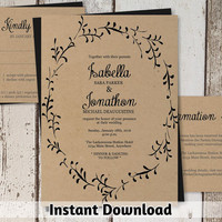Wedding Invitation Template - Printable Set | Rustic Foliage Winter Wreath on Kraft Paper | Editable PDF Instant Download | RSVP Enclosure