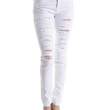 High Rise Destroyed Skinny Fit Jeans RJH113 - D11B