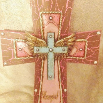 SALE30%off Cowgirl Angel Wing Cross