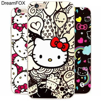 DREAM FOX K119 Hello Kitty Transparent Hard Thin Case Cover For Apple iPhone XR XS Max 8 X 7 6 6S Plus 5 5S SE 5C 4