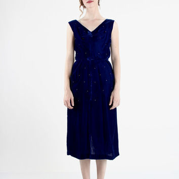 Blue Velvet Dress 1950s Evening Wear