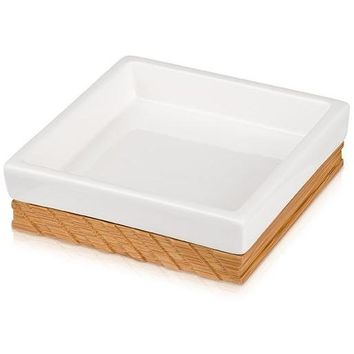 MV Ceramic With Bamboo Wood Bathroom Square Soap Dish Holder Tray Soap Holder