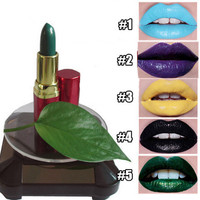 1Pc Gothic Cosplay Lipstick Sexy Dark Green Purple Smooth lipstick Halloween Costume Party Lip Makeup 13 Colors available