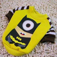 Funny cartoon Small Dog puppy clothing Minions hoodie Clothes superhero pet cat dog costume Jumpsuit Chihuahua poodle clothes