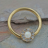 Gold CBR Hoop with White Opal Cartilage Hoop Tragus Helix Rook Nipple