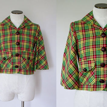 1960s Plaid Trapeze Coat with Bell Sleeves by FancyThatVintage