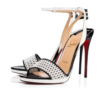 Discoport 120 Black/White Fabric - Women Shoes - Christian Louboutin
