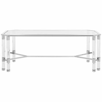 """Chandon 48"""" Wide Chrome Steel and Clear Glass Coffee Table - #21J12 