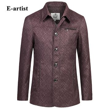 Spring New Men Casual Ramie Jackets Coats Slim Fit Shiny Long Outerwear Overcoats Zipper Windbreaker