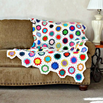 Crochet Afghan, Crochet Circle Hexagon Blanket, Multi Color Crocheted Throw Blanket