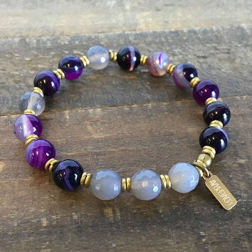 """Purple and Grey Agate, """"Transformation and Grounding"""" bracelet"""