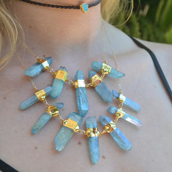 JULY 4th SALE AQUA Aura Necklace /// Layering Necklace /// Electroformed 24kt Gold