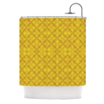"Mydeas ""Dotted Plaid"" Geometric Yellow Shower Curtain"