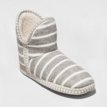 Fashion Gilligan & O'Malley Womens Knitted Bootie Slipper - Gray - L (9-10)