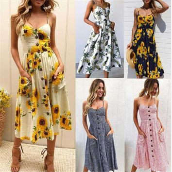 HOT Sunflower Backless Floral Print Summer Dress Women Beach Tunic 2018 Casual Boho Style V Neck Strap Pineapple Maxi Vestidos
