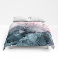 Blush and Payne's Grey Flowing Abstract Painting Comforters by elizabethschulz