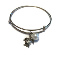 Turtle Charm Bracelet - Alex and Ani Inspired - Silver Jewelry - Stacking Bangles - Turtle Adjustable Charm Bangle - Large Pearl Bracelet