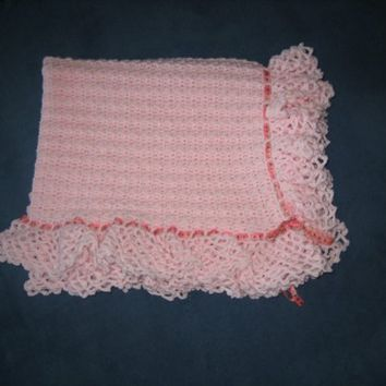 Crocheted Pink Baby Blanket with Ribbon by bb2213 on Etsy