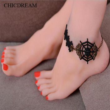 Barefoot Sandals Beach Pool Wear Toe Ring Anklet Spiderweb Nudeshoes Foot jewelry Victorian Lace Yoga Shoes Bridal Anklet Wrist