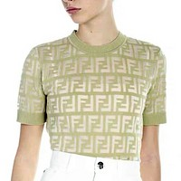 Fendi High quality new fashion more letter women knit top t-shirt Mint Green