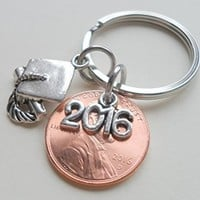 """2016"" Charm Layered Over 2016 Penny Keychain, with Cap and Diploma Charm - Good Luck to the New Graduate; Hand Made; Graduation Gift"