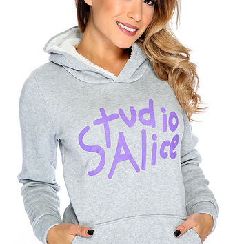 Grey Graphic Design Hoodie Sweater