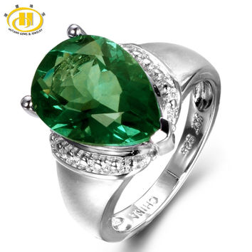 Hutang 6.21ct Genuine Green Fluorite Gemstone Solid 925 Sterling Silver Solitaire Ring Fine Jewelry
