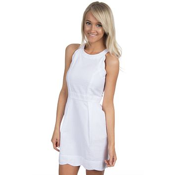 The Landry Seersucker Dress in White by Lauren James