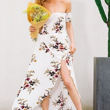 Boho Off-shoulder Floral Dress