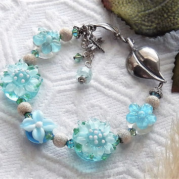 One of a Kind Handmade .925 Sterling Silver Lampwork & Crystal Bracelet