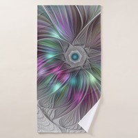 Colorful Flower Power Abstract Modern Fractal Art Bath Towel