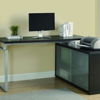 """Cappuccino Hollow-Core """"L"""" Shaped Desk With Frosted Glass"""