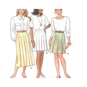 Uncut Sewing Pattern Misses Pleated Skirts Butterick 6074  Size 12 14 16 Rated Very Easy