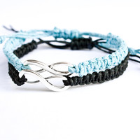 Infinity Bracelets Light Blue and Black Hemp