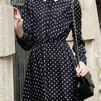 Vintage Peter Pan Collar Long Sleeve Polka Dot Elastic Waist Dress