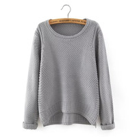 Cuffed Long-Sleeve Knitted Shirt
