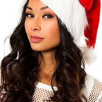 The Velvet Sexy Santa Hat in Red and White
