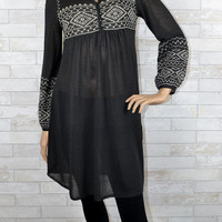 Monoreno Embroidered Bishop Sleeve Knit Dress- Charcoal