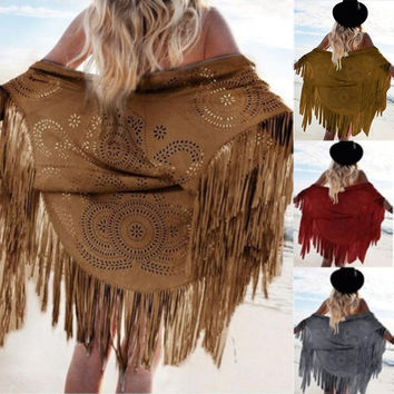 Thin Summer Women Faux Suede Tassel Kimono Capes Batwing Tops Pashmina Cardigan Geometric Boho Cover Up Shawl Wrap Fringed Scarf