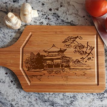 ikb365 Personalized Cutting Board Wood Japan Sakura house landscape Japanese cuisine restaurant