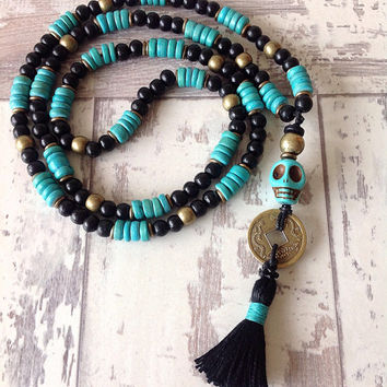 Long beaded unisex necklace, long mens necklace, skull rosary, day of the dead jewelry, ancient coin necklace, mens jewelry, unisex jewelry