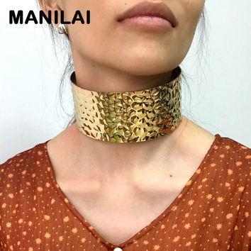 MANILAI Punk Style Alloy Open Torque Choker Necklaces Fashion Woman Neck Rough Wide Collar Necklace Statement Jewelry CE4275