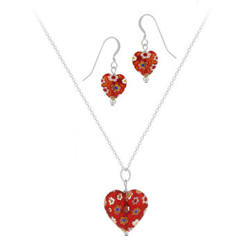 Sterling Silver Murano Glass Red Multi Color Millefiori Flower Heart Pendant & Earrings Set