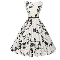 Summer women dress plus size long vintage dress Audrey Hepburn Swing Floral Women Retro Rockabilly 50s 60s Vintage Dress