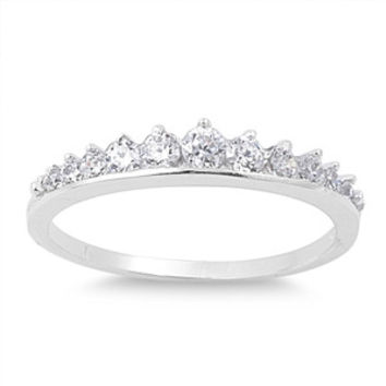 925 Sterling Silver CZ Journey Tiara Crown Blend Ring 4MM